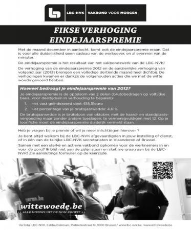 Eindejaarspremie 2012 voor werknemers uit de Vlaamse non-profit