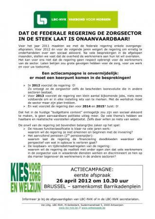 LBC-NVK organiseert actie voor sociale akkoorden federale non-profit op 26 april