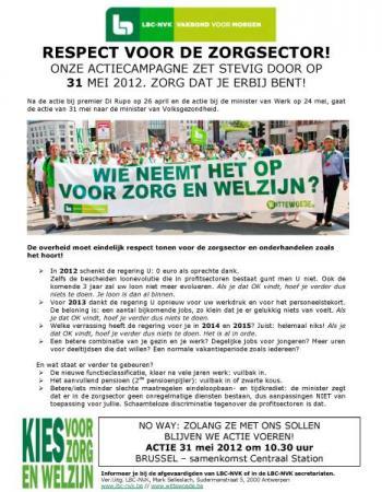 LBC-NVK voert op 31 mei opnieuw actie voor uw akkoord