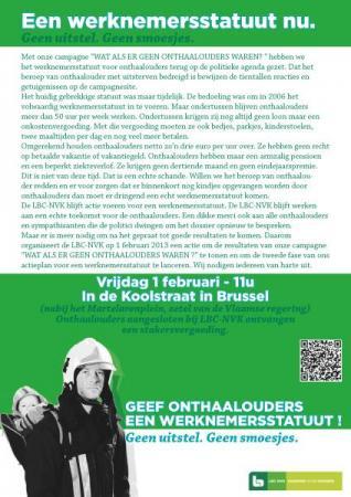 LBC-NVK organiseert actie voor werknemersstatuut onthaalouders op 1 februari
