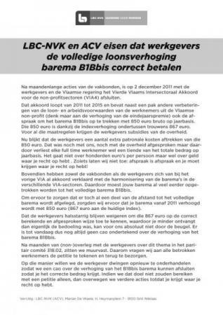 LBC-NVK eist dat werkgevers gezinszorg volledige loonsverhoging begeleidend personeel betalen
