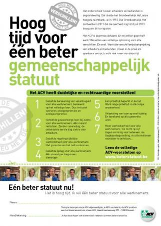 Teken de petitie voor één beter gemeenschappelijk statuut voor alle werknemers