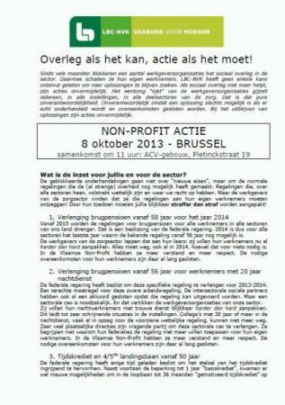 LBC-NVK roept op voor non-profit actie op 8 oktober