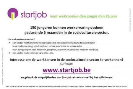 Startjob voor 150 jongeren in socioculturele sector